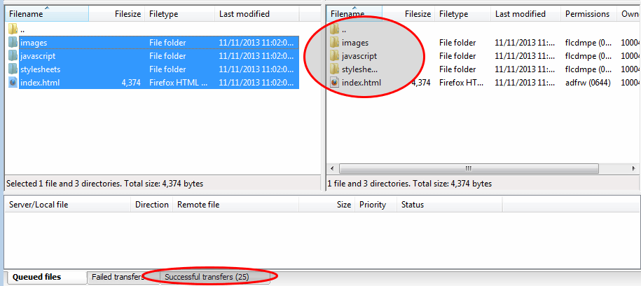 FileZilla - Successful Transfer