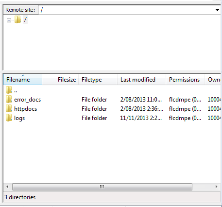 FileZilla - Remote Files (Plesk)