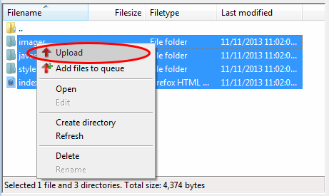 FileZilla - Upload