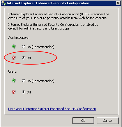 internet explorer enhanced security configuration.