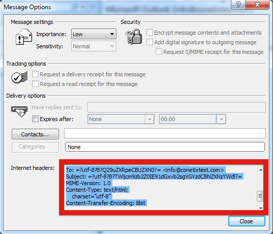 Email headers for Outlook 2003 and 2007