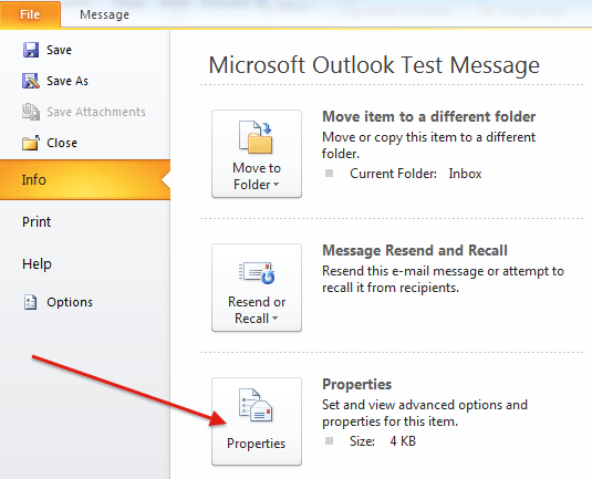 Outlook 2010 and 2013 email headers