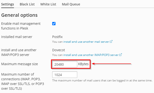 how to set maximum email size in plesk for a vps