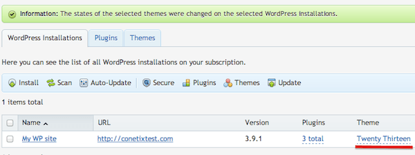how to change a wordpress theme in plesk 12