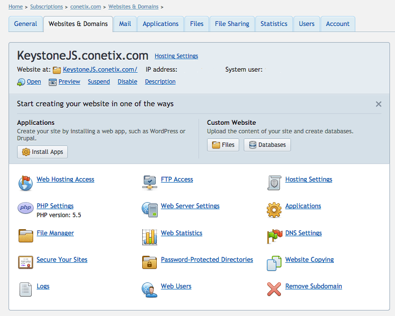 web hosting access screenshot plesk 12 keystonejs