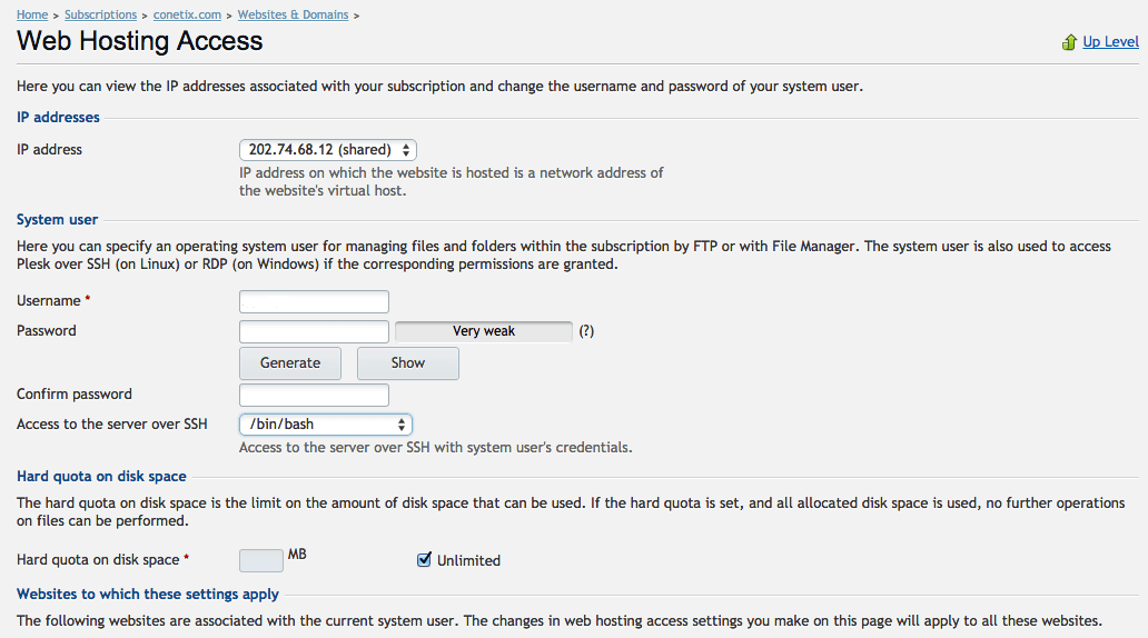 configure ssh access plesk12 screenshot