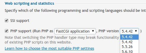 Plesk 12 - Select PHP Version