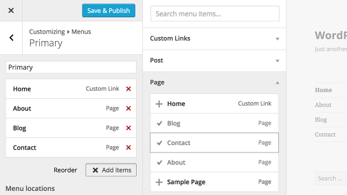 "wordpress 3.4 ""billie"" menu cutomoiser"