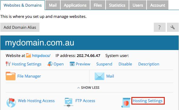 plesk windows - hosting settings