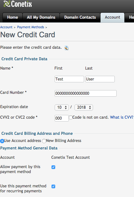 how to add a credit card for hosting payments with conetix