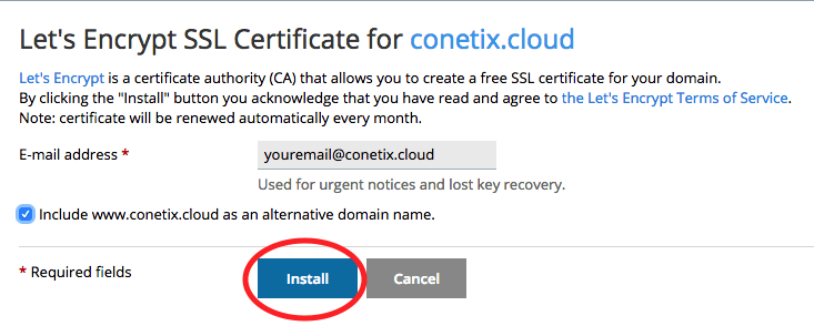 Lets's Encrypt Install and adding email address