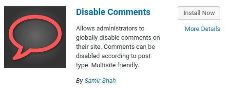 WordPress - Disable Comments Plugin