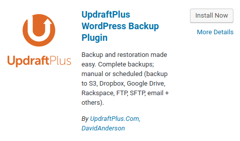 WordPress - Updraft Plus