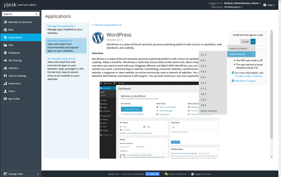 Plesk 17.5 WordPress Toolkit 2.0 WordPress Installer Screenshot