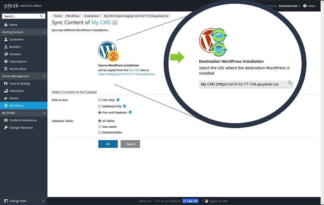 Plesk 17.5 WordPress Toolkit 2.0 Sync Screenshot