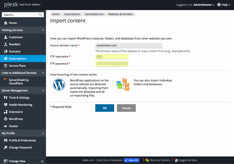 Plesk 12.5 WordPress Toolkit 2.0 Single WordPress Migration Screenshot