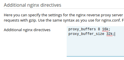 Plesk - Additional nginx directives - proxy buffer increase