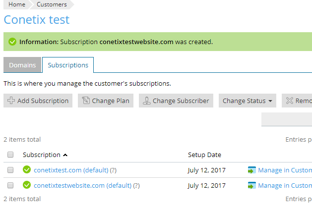 Plesk new subscription under existing customer