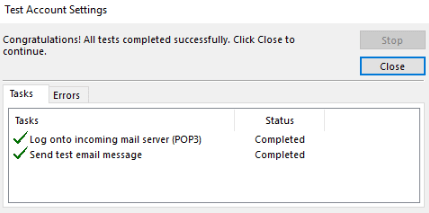outlook - update incoming and outgoing mail server settings