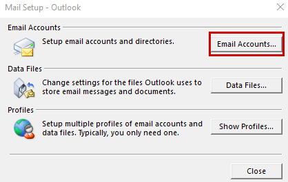 outlook – update incoming and outgoing mail server port numbers