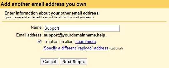 setting up mail in gmail