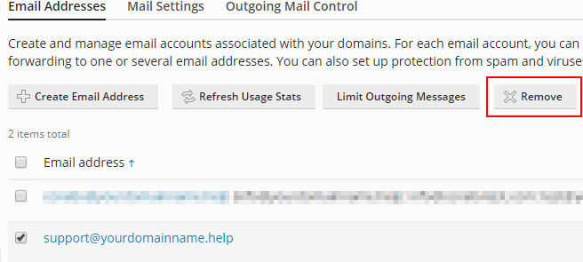 plesk obsidian delete an email account