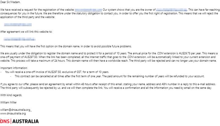 email scam - false urgency