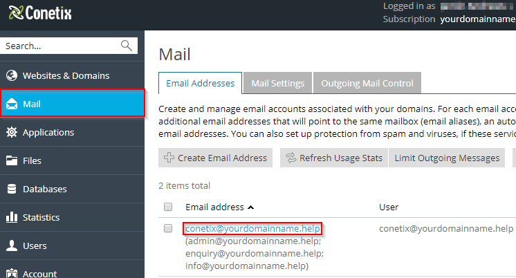 plesk onyx - how to remove a email alias