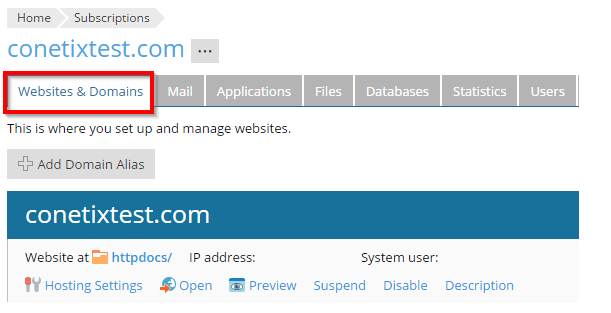 plesk onyx - web statistics page redirecting to https
