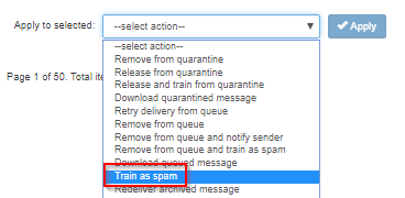 train antispam filter to mark messages as spam