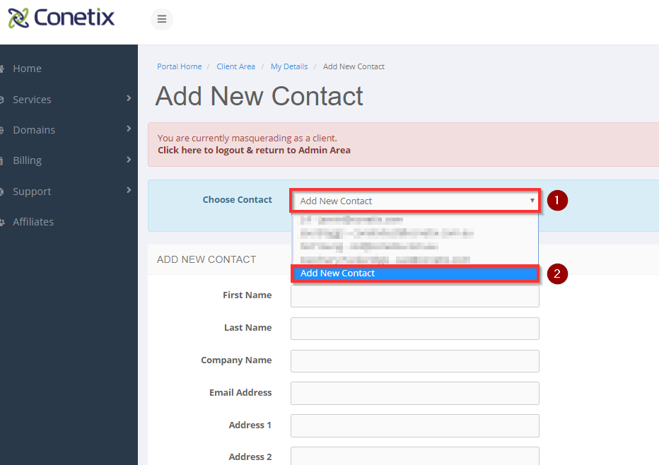conetix control panel: add a new user