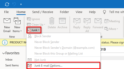 Changing junk options in Outlook