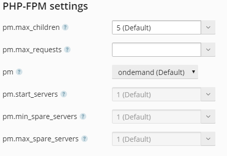 plesk obsidian - php settings