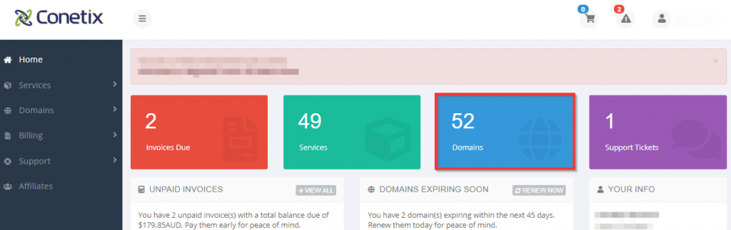 conetix control panel: updating domain contact details