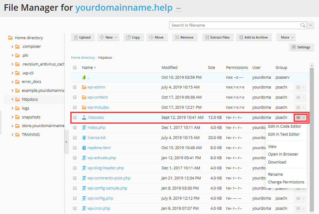 Plesk Obsidian - Editing Files in Plesk File Manager