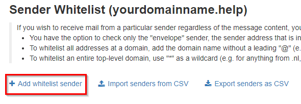 spam experts - whitelist email/domain