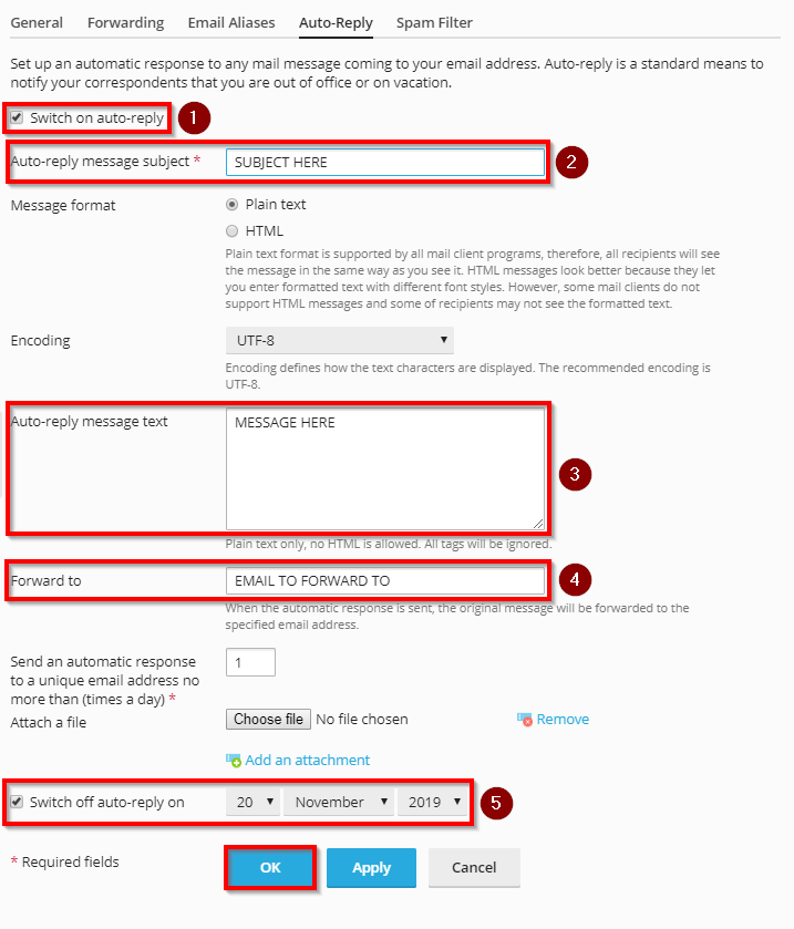 setup an email autoresponder in plesk obsidian