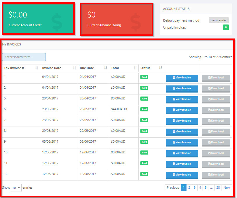 manage your account credit