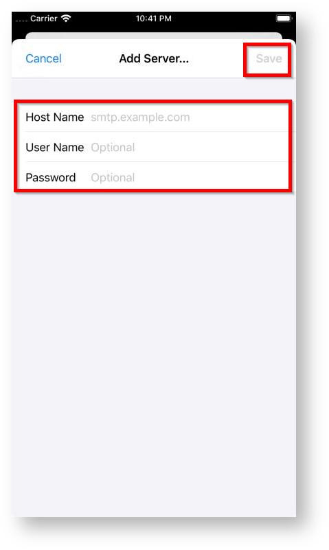modify iphone smtp mail settings