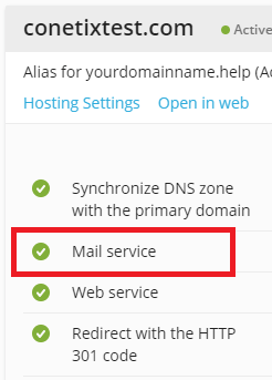 disable the mail service on a domain alias