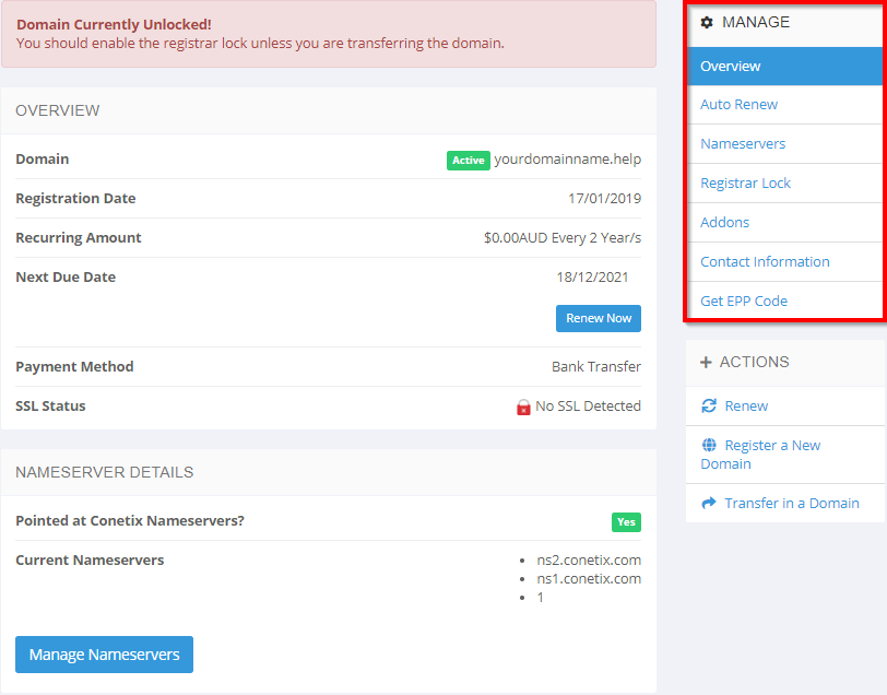 how do i manage my domain names?