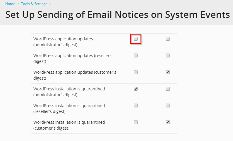 disable wordpress application update notifications