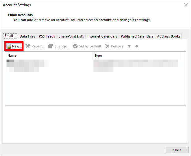 setup new mailbox in outlook