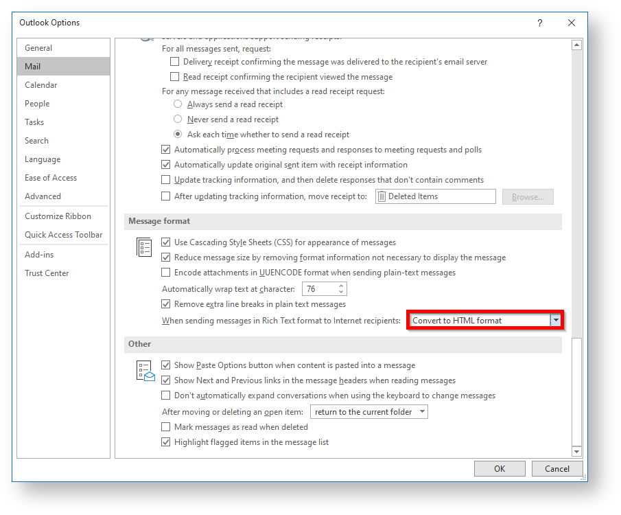 Prevent Sending winmail.dat Attachments in Outlook