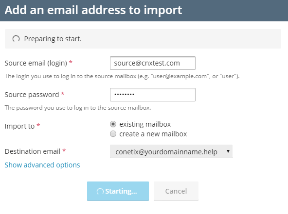 moving email to conetix via mail importer