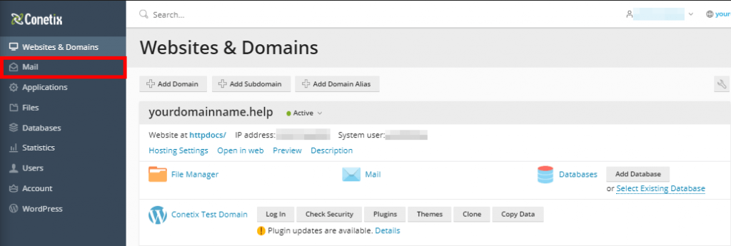create an email account in plesk