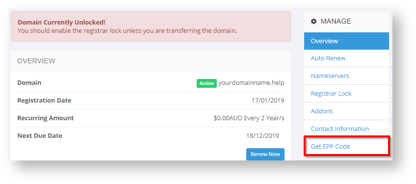 Conetix Control Panel: Retrieve Domain EPP Code