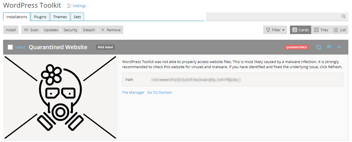 remove wordpress installation from quarantine