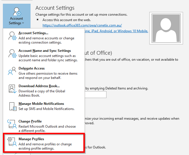 Remove Email Account from Outlook