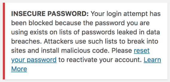Insecure Password warning: Managed WordPress